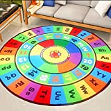 HOMEE Digital letter kindergarten home early education round carpet learning blanket children's room mats baby crawling mat,100Cm,4
