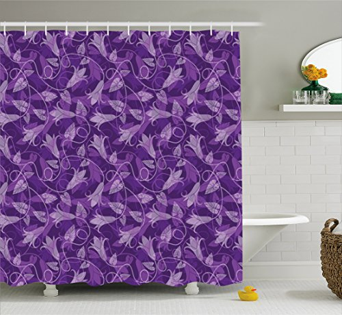 Lunarable Violet Shower Curtain, Abstract Exotic Tulip Flowers Leaves Silhouettes Retro Style Curly Design, Fabric Bathroom Decor Set with Hooks, 70 inches, Purple Violet Beige ()