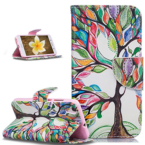 Price comparison product image Huawei Honor 5A Case,Huawei Y6 II Case,ikasus Colorful Painted PU Leather Flip Wallet Pouch Stand Credit Card ID Holders Case Cover for Huawei Y6 II / Huawei Honor 5A ,Colorful Tree Leaves