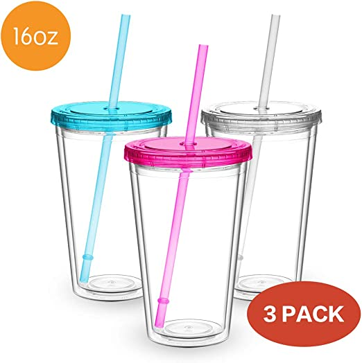 2 Pack 16 oz Clear Double Wall Insulated Tumblers w// Straw and Lid