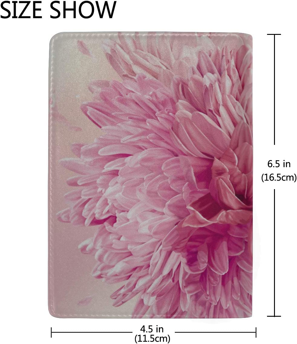 Colorful Chrysanthemum Flower Blocking Print Passport Holder Cover Case Travel Luggage Passport Wallet Card Holder Made With Leather For Men Women Kids Family