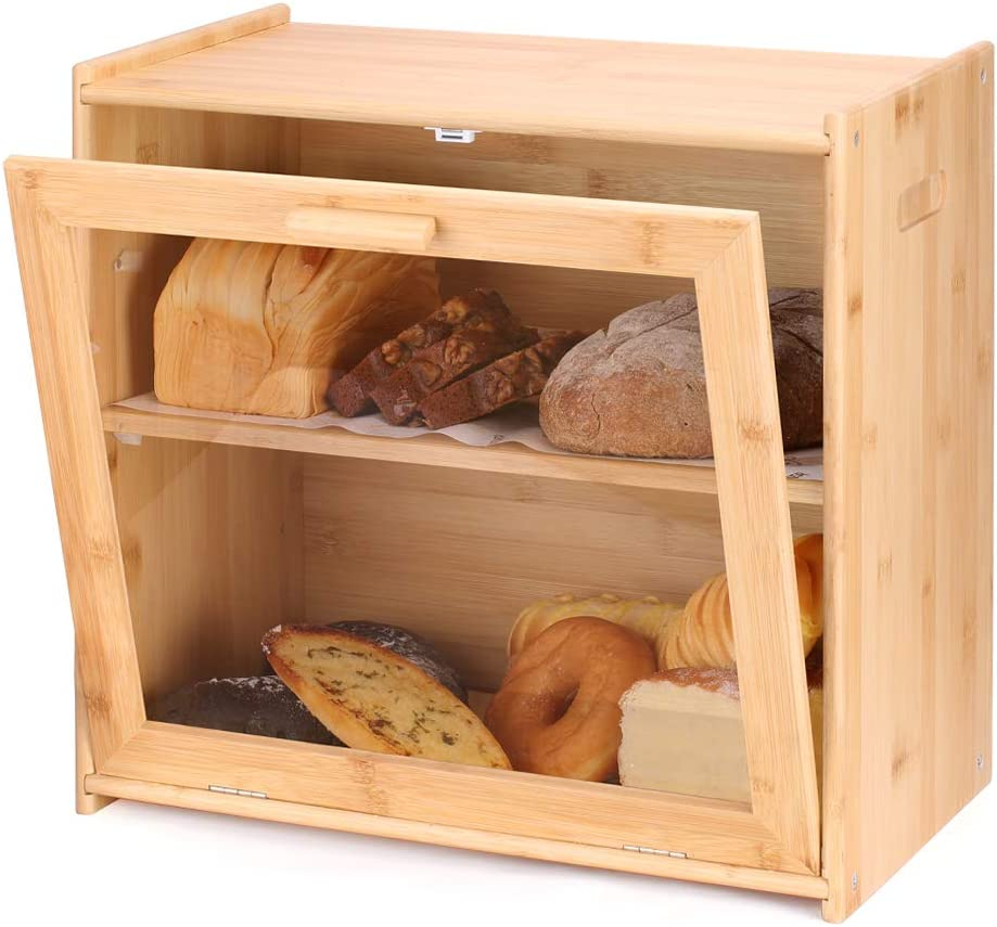Bread Box for Kitchen Countertop【Buy Two for Price of One】Double Layers Extra Large Bamboo Bread Box for Kitchen Pantry Farmhouse Food Storage Bin Bread Keeper with Transparent Window