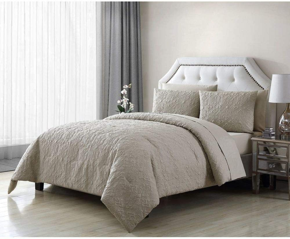 7 piece glam style sand taupe comforter