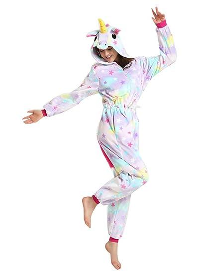 Kenmont Unicornio Juguetes y Juegos Traje Disfraz Animal Ropa de Dormir Cosplay Disfraces Pijamas para Adulto Niños (S: 148-160CM, Estrella Unicornio)