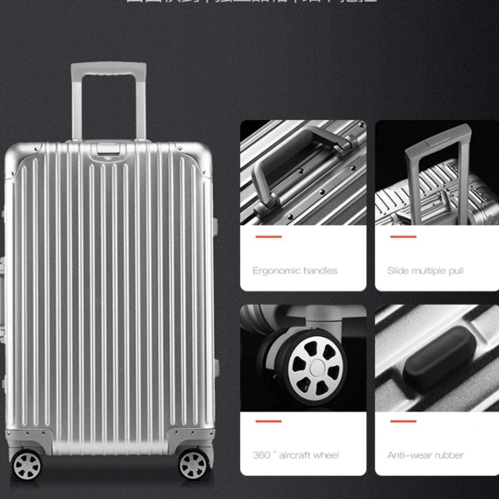 """26"""",Silver Super Lightweight Business Suitcase HUANGDA ABS+PC Hard Shell Spinner Luggage Suitcase Travel Trolley Case Color : Blue, Size : 20 inches"""