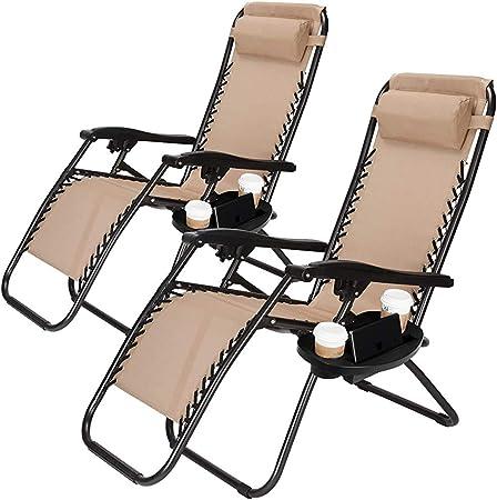 2 tumbonas plegables sillas de sol gravedad cero playa reclinable de camping al aire libre jardín terraza capacidad de 135kg,Brown: Amazon.es: Hogar