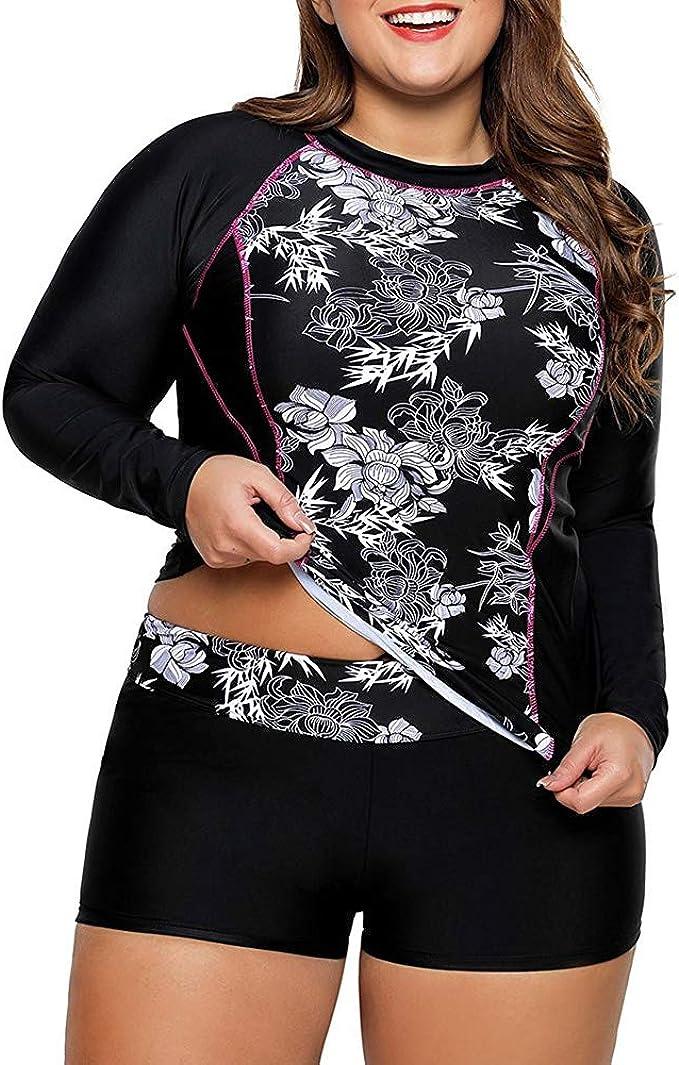 Hanna Nikole Womens Long Sleeve Rashguard UPF 50 Sun Protection Plus Size Swimsuit