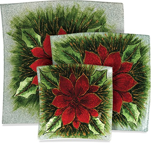 AngelStar Decorative Glass Plate with Wire Display Stand (3, Square Poinsettia Christmas Set) Poinsettia Stand