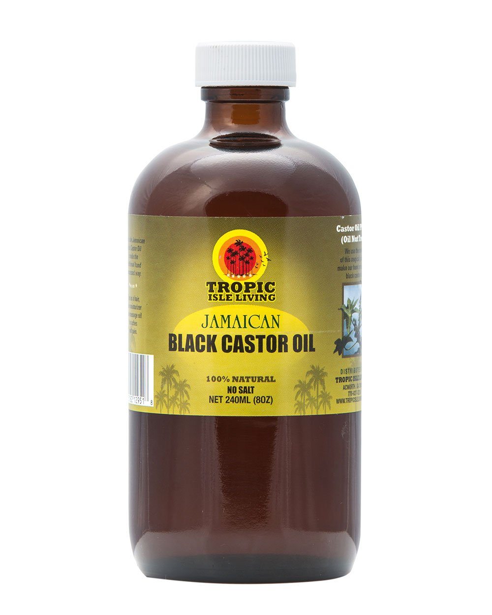 Tropic Isle Living Jamaican Black Castor Oil 8 oz - Glass Bottle