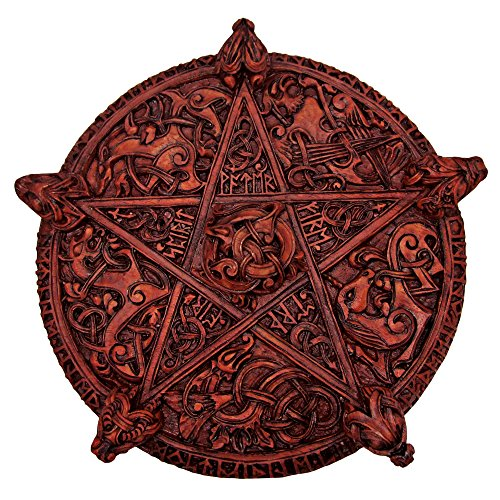 Large Knotwork Pentacle Wall Plaque Wood Finish - Pentacle Wall