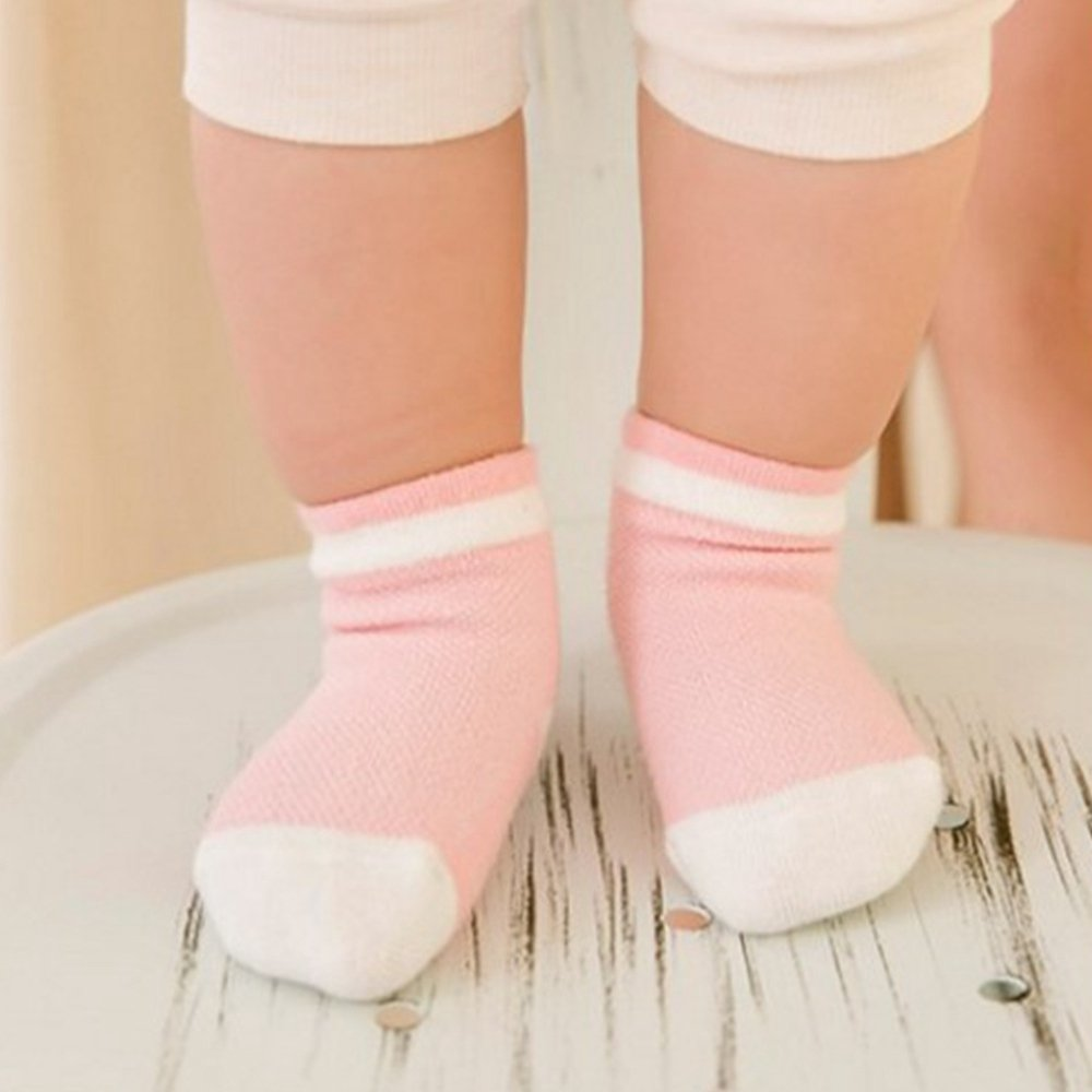 Merssavo 5 Pairs Baby Boy Girl Cotton Ankle Socks Newborn Infant Toddler Kids Soft Sock Pink 7-9cm