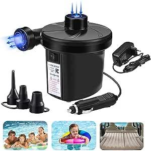 PECHTY Bomba de Aire Eléctrica,Inflador Electrico Colchones Inflables/deflactor,Hinchador eléctrico con 3 Boquillas para Colchon Hinchable, Botes ...