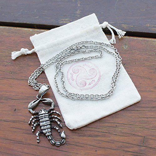 Arachnids Scorpion Scorpio Zodiac Sign Astrology Pewter Pendant Necklace Stainless Steel Chain by OhDeal4U (Image #1)