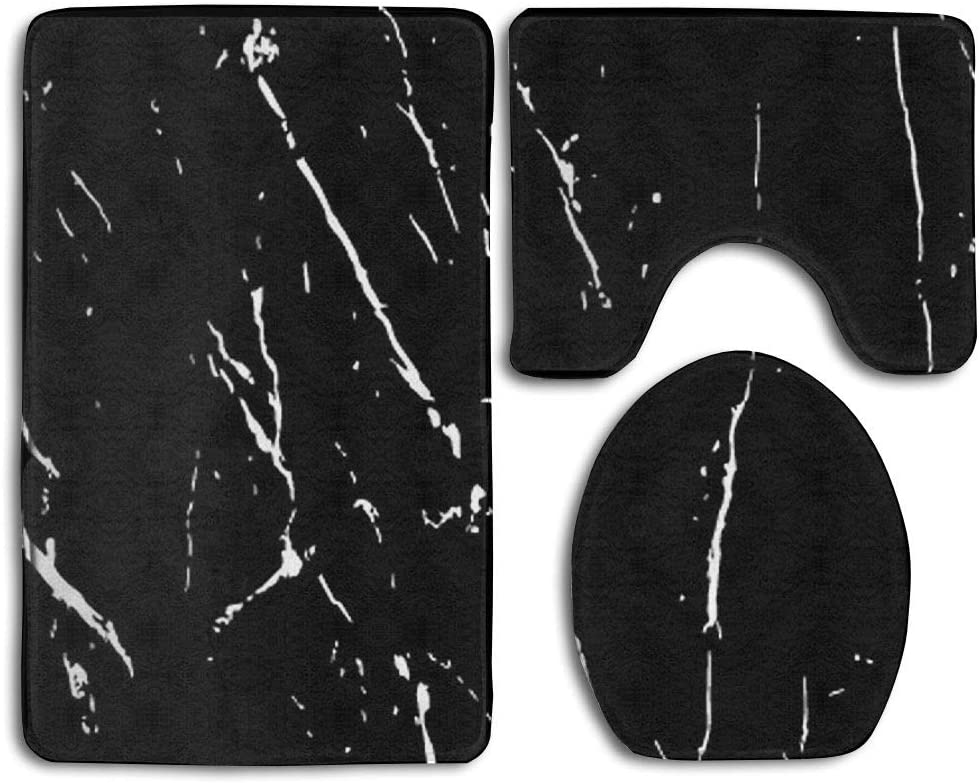 GNZYQ Black and White Marble Texture Seamless Pattern 3 Piece Bathroom Rug Set,Flange Blanket FaceBathroom Shower Mat The Bath Carpet Toilet Seat Assembly