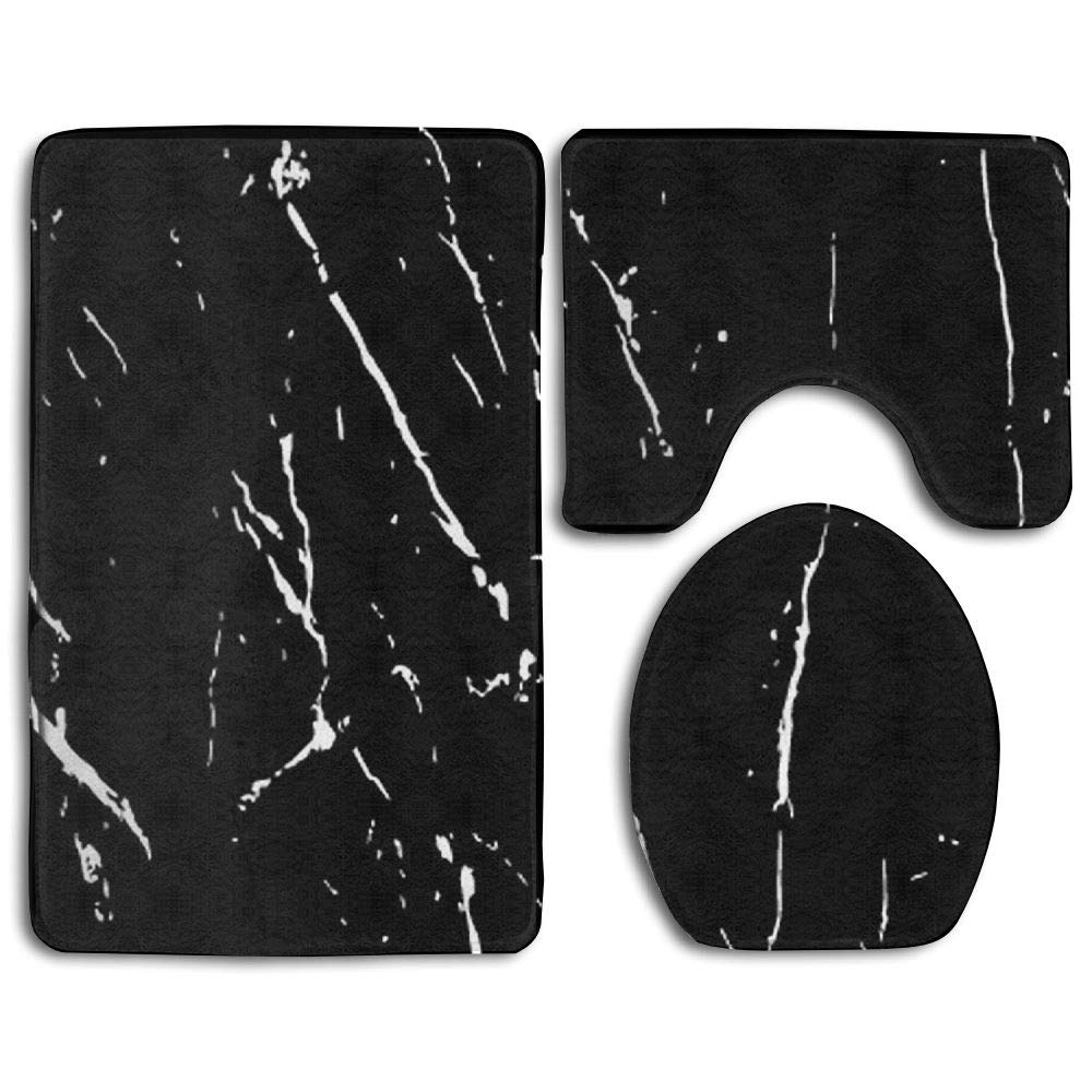 GNZYQ Black and White Marble Texture Seamless Pattern 3 Piece Bathroom Rug Set, Flange Blanket FaceBathroom Shower Mat The Bath Carpet Toilet Seat Assembly GNZYQ Manufacturer