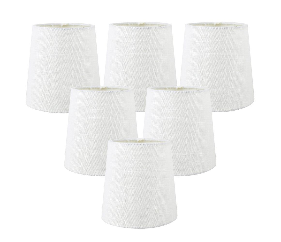 Meriville Set of 6 Off White Linen Clip On Chandelier Lamp Shades, 4-inch by 5-inch by 5-inch