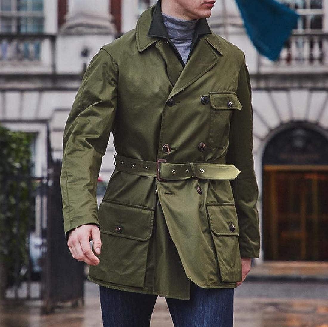 Aooword-men clothes Notch Lapel Patch solide de couleur Wrap Outwear Trench Homme Armée Verte