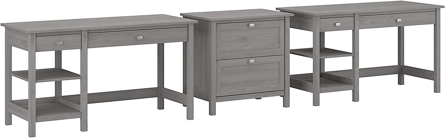 Bush Furniture Broadview 2 Person Desk Set with Lateral File Cabinet, 54W, Modern Gray