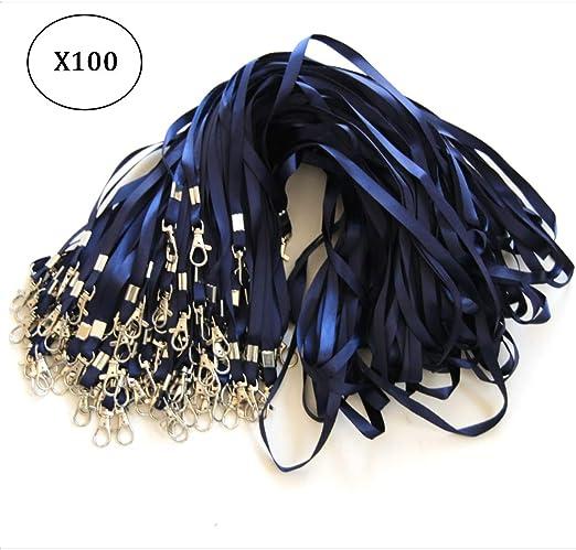 Conjunto de 100 cintas azules con clip de metal - Cinta para el cuello para portatarjetas de identificación (Azul, 100)