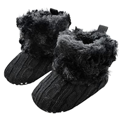 Baby Snow Boots, Mchoice Baby Snow Boots Soft Crib Shoes Toddler Boots Anti-slip Soft Sole Toddler (6~12 Months, Black)