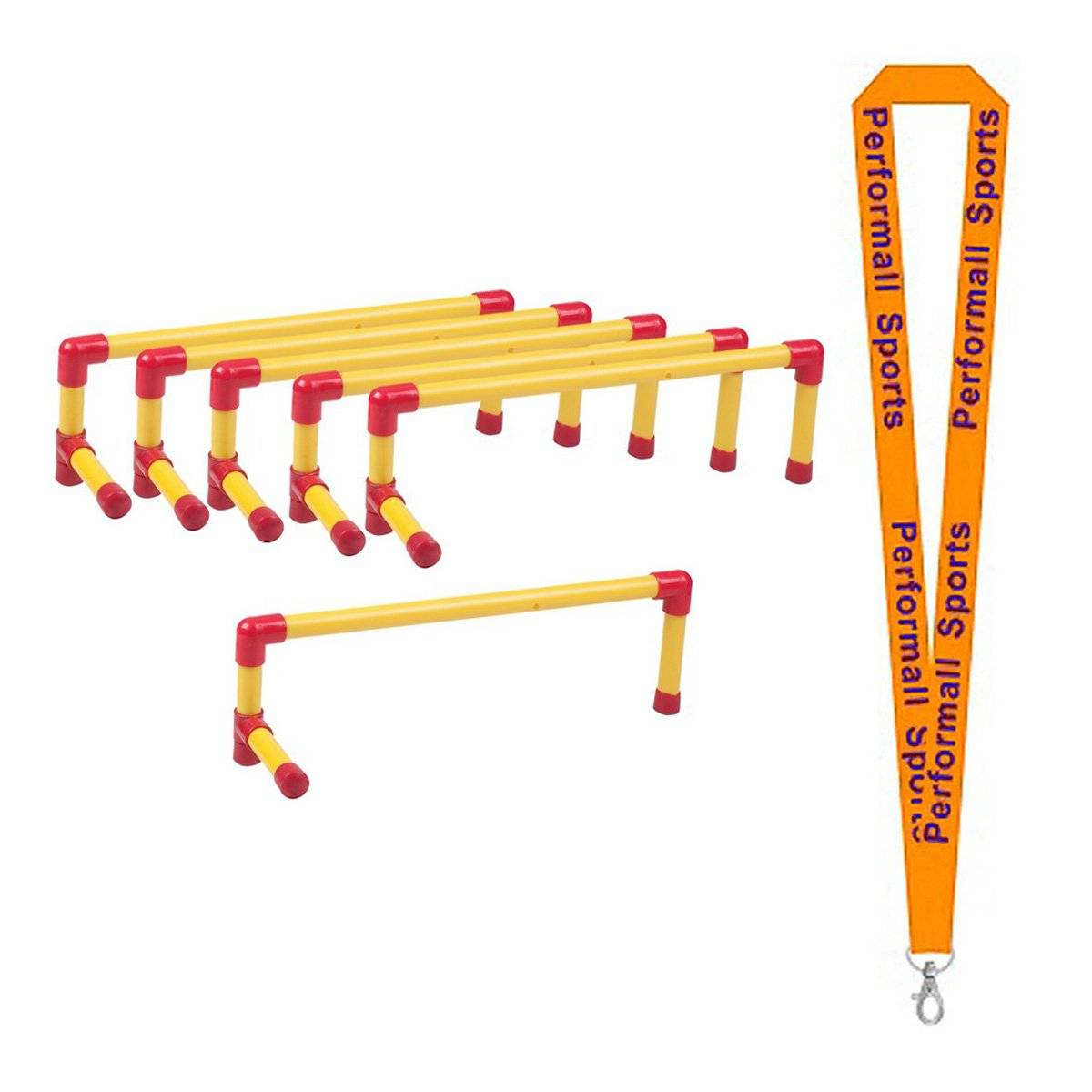 Champion Sports Ultra Hurdle Set Red / Yellow (Set of 6) with 1 Performall Lanyard UH6SET-1P by Performall Sports Speed Agility Training