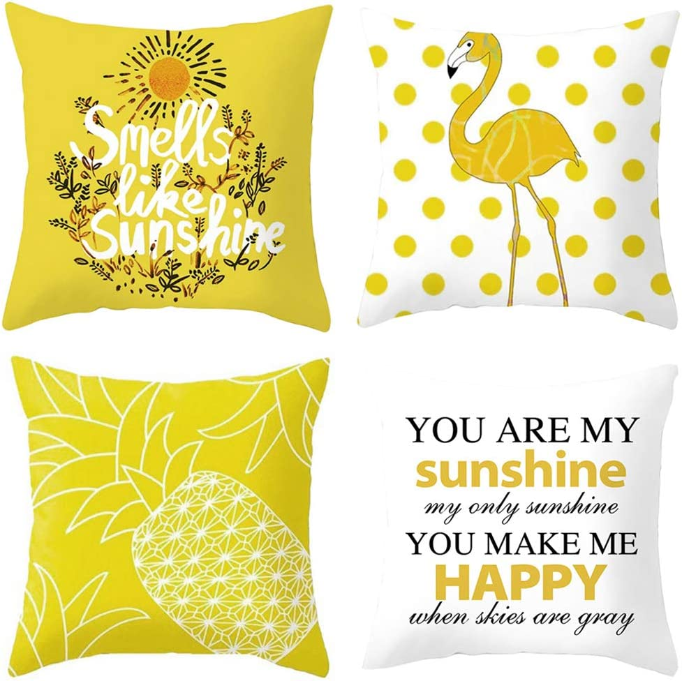 PTHAHNIL Hello Summer Pillow Covers Set of 4 Sunshine Flamingo Pineapple Decor Pillowcase Decorative 18x18 for Home Car Decorative Peach Skin Material