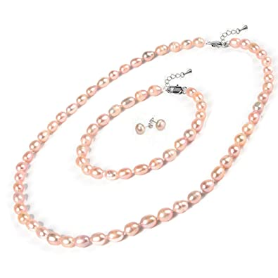 Stunning 8 9mm Pink Rice Freshwater Pearl Necklace And Matched Bracelet Earrings Set Presented In A Beautiful Jewellery Gift Box