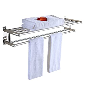 Aluminum Double Towel Bar 24 Inch Wih 5 Hooks Bathroom Shelves Towel Holders Bath