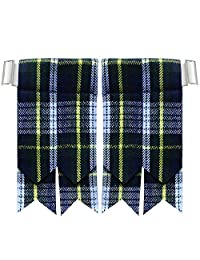 New Solid Plain Black, Royal Stewart Tartan Many More Kilt Flashes Multi Colors
