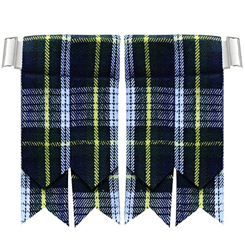 New Solid Plain Black, Royal Stewart Tartan Many More Kilt Flashes Multi Colors (Dress Gordon)