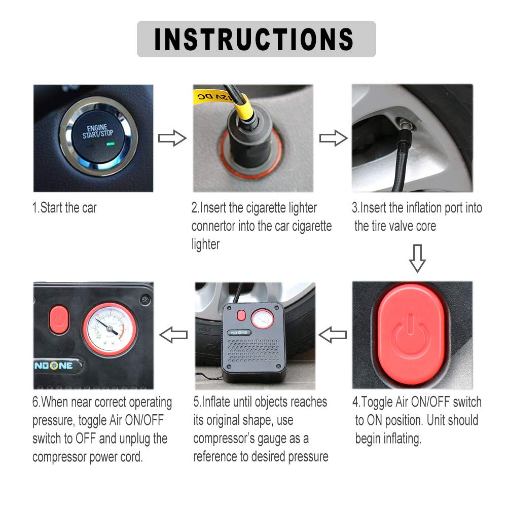 NoOne Portable Air Compressor Pump, 12V DC Mini Car Tire inflator Gauge for Car/Bicycle/Motorcycle/Ball/Air Matresses 120W 150PSI by NoOne (Image #4)