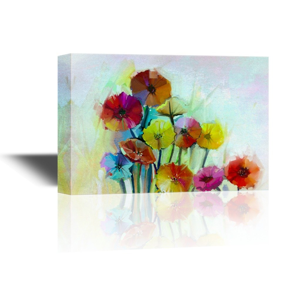 Small Colorful Oil Painting Style Flowers Petals Favorite Canvas Art