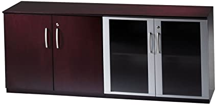 Mayline VLCGMAH Napoli Low Wall Cabinet With Glass Doors, Mahogany Veneer,  Clear Glass