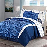 quilts in blue - HollyHOME Blue Floral 8-Piece Bed in Bag Comforter Set, Full