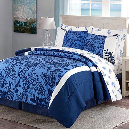 Blue Bed Bag (HollyHOME Blue Floral 8-Piece Bed in Bag Comforter Set, King)