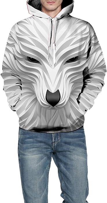 Morbuy Sudaderas con Capucha Impresas 3D Zorro Unisex con Bolsillos, Creativo Hombre Mujer Ocio Manga Larga Hoodies Pullover Moda Tops Deportes Sweatshirt