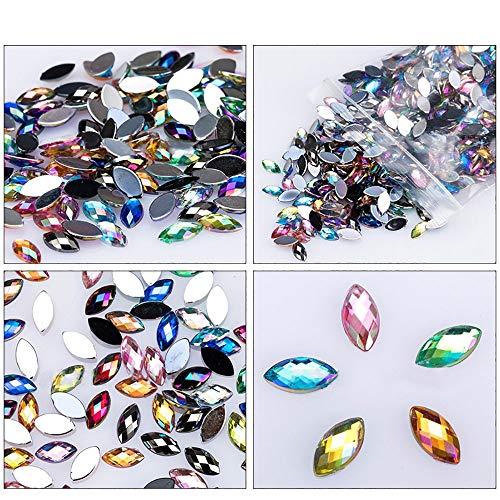 Hot Sale! 500Pcs Shiny Nail Art Gems,Sunfei Glitter Horse Eye Rhinestones 3D Nail Art Decorative Glue Acrylic ()