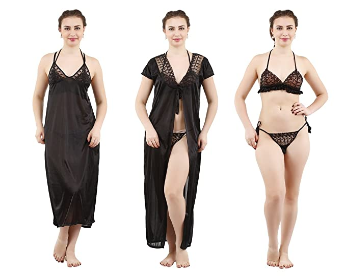 403c5957a64 Image Unavailable. Image not available for. Colour  REPOSEY Women s Satin  Nightwear Set of 4 Pcs
