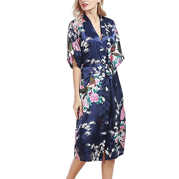 Sidiou Group Bata de Satén Vestido Kimono Largo Mujer Camisón Pijamas Ropa de Dormir Albornoz Saten: Amazon.es: Ropa y accesorios