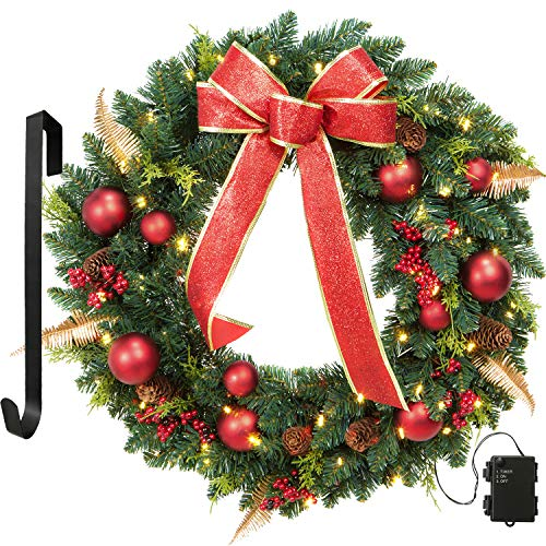 24 Inch Holiday Wreath With Red Ribbon and Ornaments