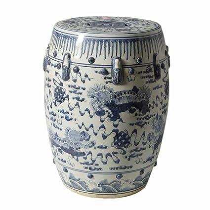 Chinese Blue And White Porcelain Garden Stool Round Foo Dog Lion Motif  18u0026quot;