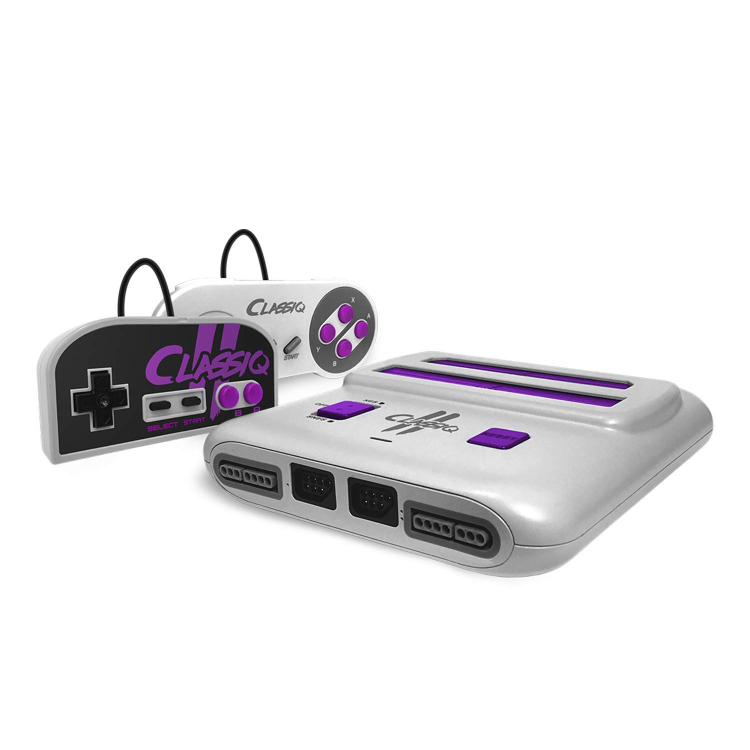 Old Skool Classiq 2 AV Version Twin Video Game System, Grey/Purple Compatible with SNES/NES Nintendo and Super Nintendo cartridges: Video Games