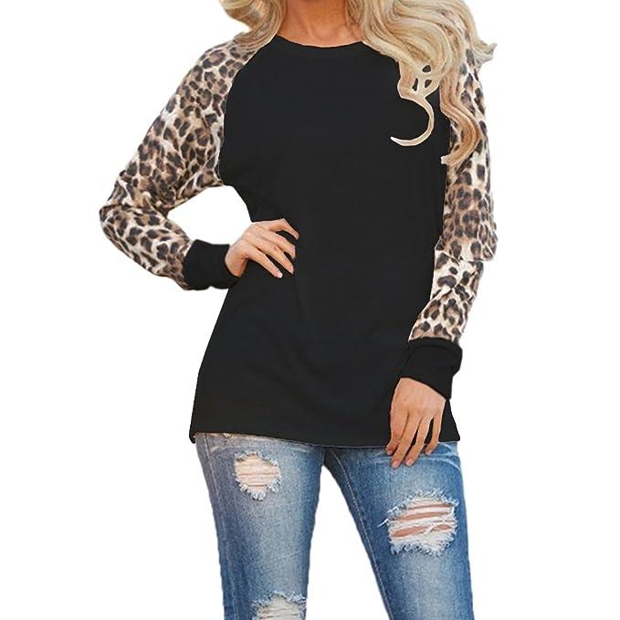 ISSHE Camisetas Cuello Redondo Manga Larga Mujer Camiseta Interior Para Dama Camisas Estampadas Camisa Leopardo Top Chica Blusas Bonitas Señora Remera ...
