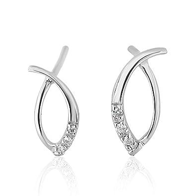 ed4536412633 Pendientes Mujer Oro y Diamantes - Oro Blanco 9 Quilates 375 ♥ Diamantes  0.05 Quilates - Florence Collection  Amazon.es  Joyería