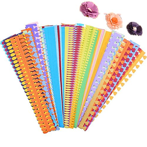 ODETOJOY Flower Quilling Paper Strips Craft Make Paper Flowers Kit for Scrapbooking-(40PCS, 8 Patterns) with Embossing Ball Stylus Tool by ODETOJOY