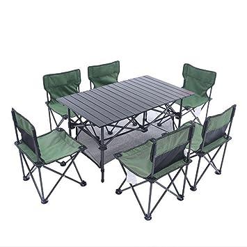 YuFLangel Juego de mesa y sillas plegables para exteriores, mesa plegable, barbacoa, camping