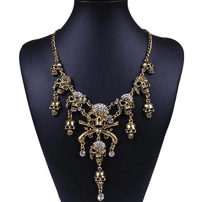 Botrong Fashion Charm Rhinestone Statement Bib Chain Choker Pendant  Necklace Jewelry (Gold) 6db3a40f7fde