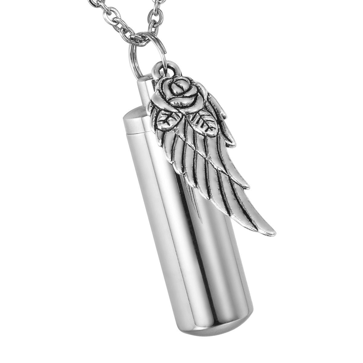HooAMI Rose Flower Angel Wing Charm Memorial Urn Necklace Cremation Ashes Keepsake Pendant