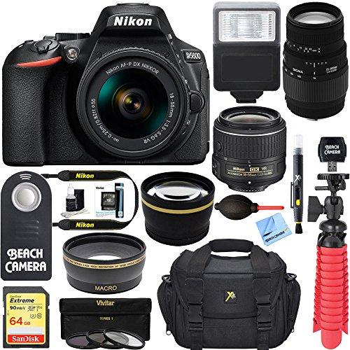 Nikon D5600 24.2MP DSLR Camera + (18-55mm VR Nikon & 70-300mm SLD DG Sigma Lens Package, Black) + Bundle 64GB SDXC Memory + Photo Bag+Wide Angle Lens + 2x Telephoto+Flash + Remote + Tripod + Filters by Nikon