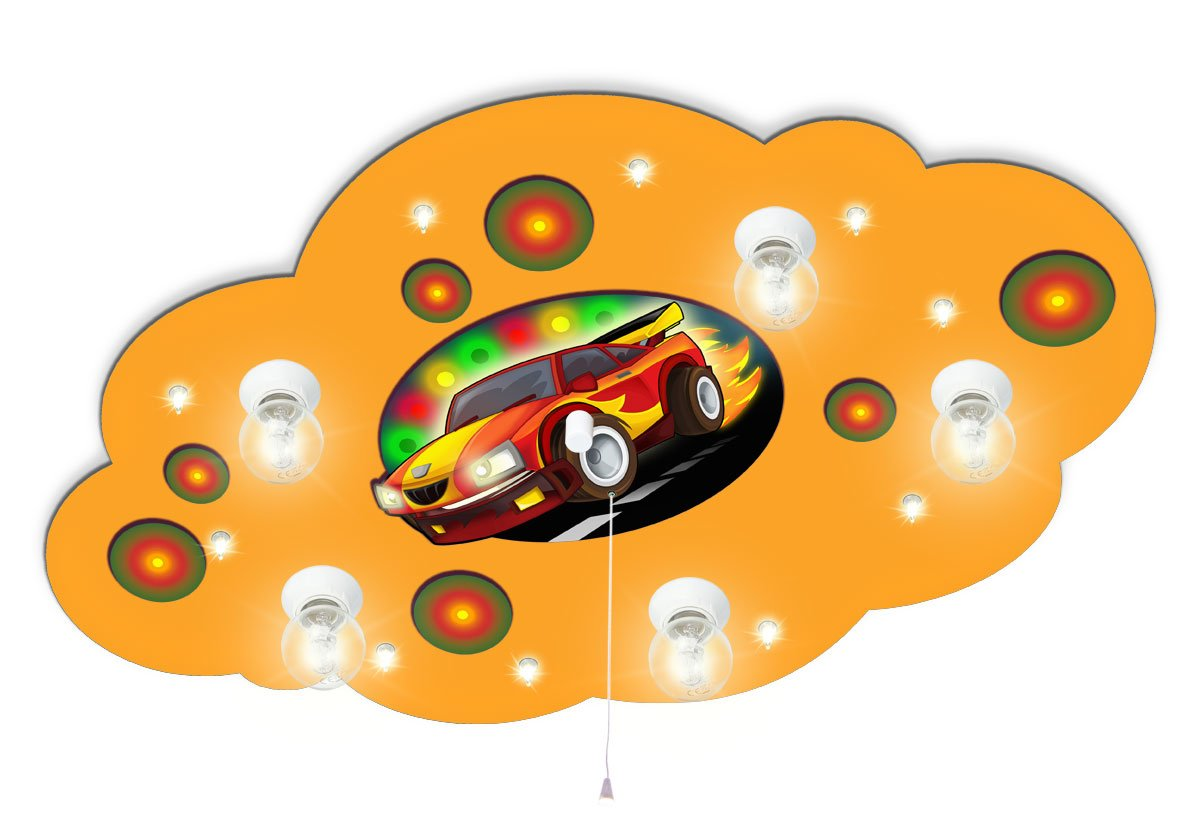 Kinderdeckenlampe mit Motiv Auto Rennwagen mit Nachtlicht / Farbe ...